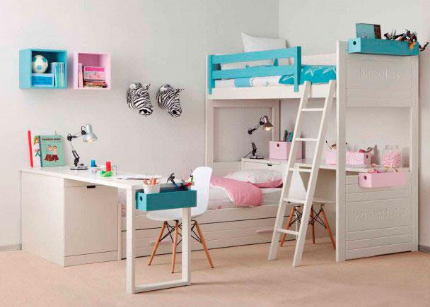 Dormitorio infantil de alta calidad con litera y nido elmenut - Dormitorio infantil literas ...