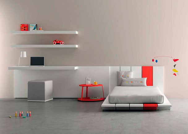 Juvenil moderno con escritorio y estantes elmenut for Precios de dormitorios infantiles