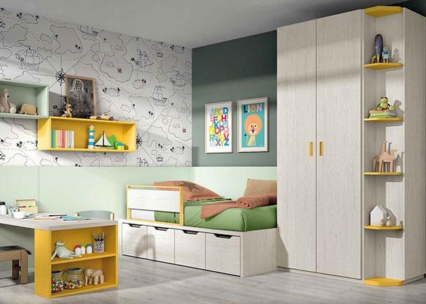 Habitación infantil equipada con un compacto con base de 4 contenedores jugueteros. El ambiente cuenta con un armario recto de dos puertas y un termi
