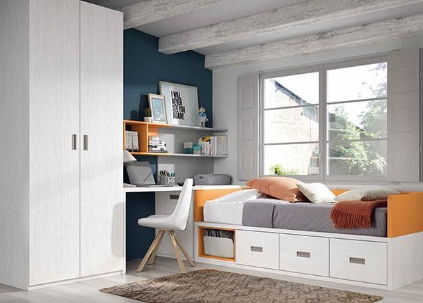 Dormitorio infantil con cama nido arc n armario y for Cama nido con arcon