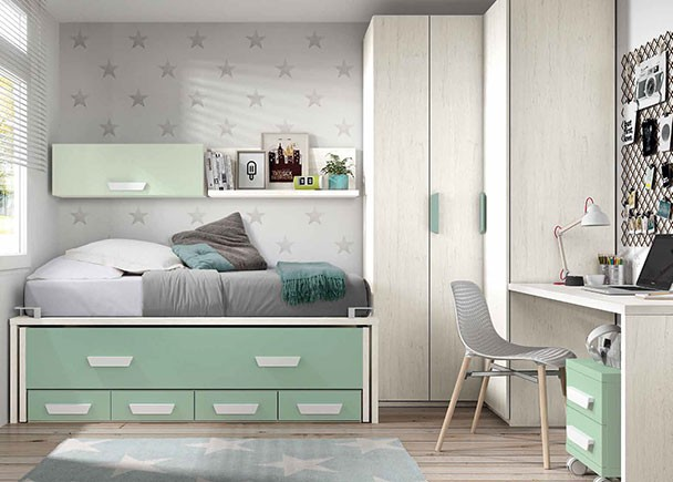 Habitaci n juvenil con dos camas y armario rinc n elmenut for Precios de dormitorios infantiles