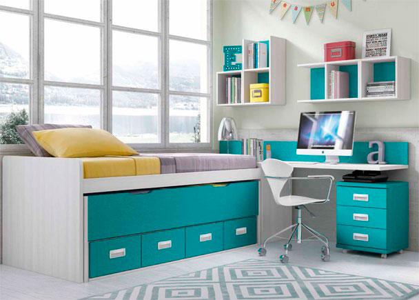Dormitorio con compacto de 2 camas y escritorio elmenut for Dormitorios compactos