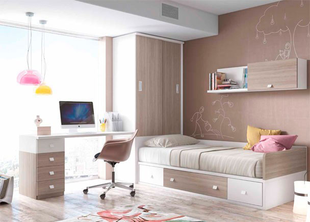 Juvenil con cama nido armario y escritorio elmenut for Cama juvenil con escritorio