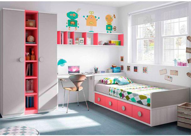 Habitaci n infantil compacto 4 cajones armario elmenut for Mural habitacion juvenil