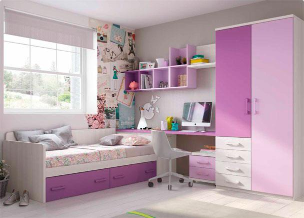 Infantil con cama nido y armario con cajones elmenut for Cama nido con arcon