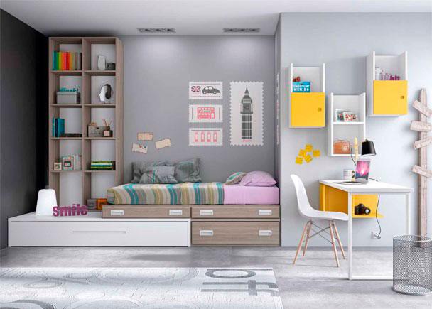 Habitaci n juvenil de linea modular con 2 camas elmenut for Habitacion juvenil 2 camas