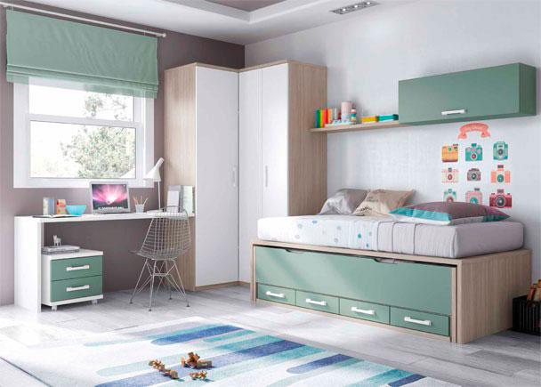 Habitacion juvenil con compacto y armario rincon elmenut for Armarios habitacion juvenil