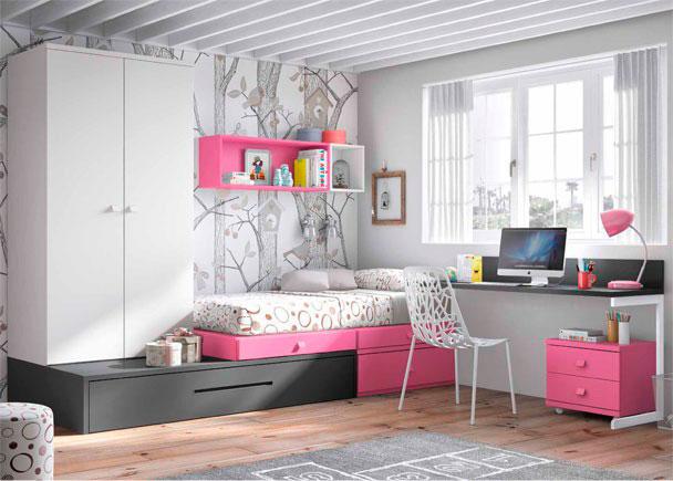 Dormitorio juvenil de linea modular con 2 camas elmenut for Cama modular infantil