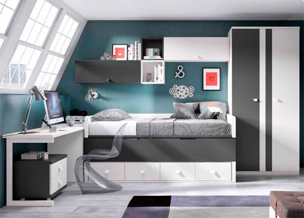 Juvenil con compacto 2 camas y escritorio elmenut for Cama juvenil con escritorio