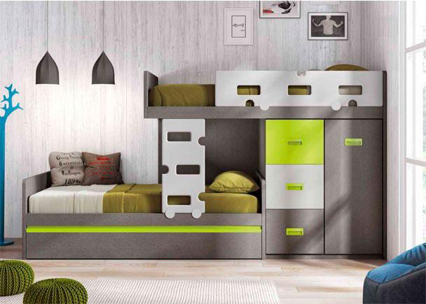 Habitaci n infantil con camas tipo tren escalera elmenut for Dormitorios tipo tren