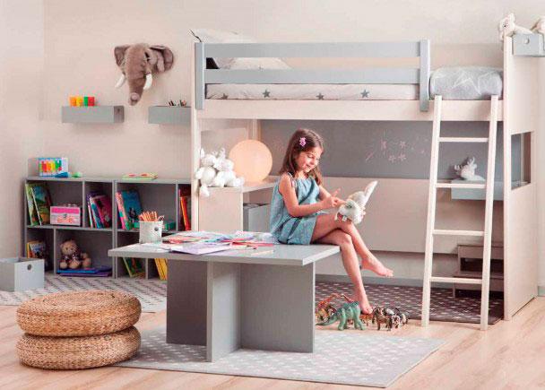 Habitación juvenil Habitación infantil con litera Loft lisa con friso de altura XL, para colchón de 90 x 190. La cama deja la parte inferior libre