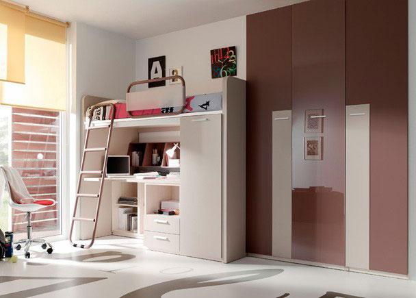 Juvenil con cama alta escritorio debajo armario elmenut for Dormitorio juvenil cama alta