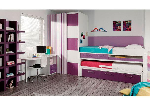 Habitaci n con 2 camas cajones y zona estudio elmenut for Camas juveniles con cajones abajo