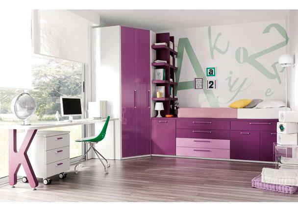 Juvenil cama compacta alta con puertas y cajones elmenut for Cama compacta con escritorio