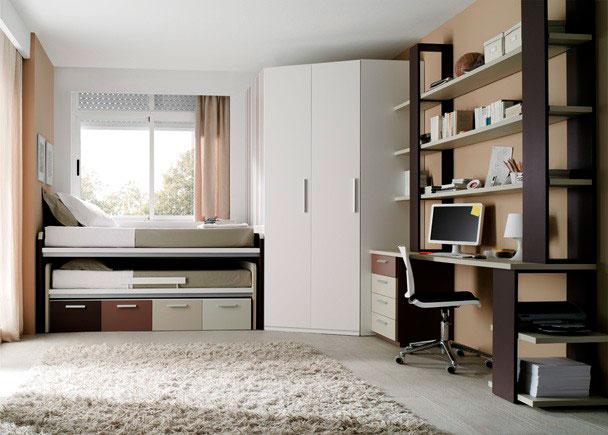Juvenil con compacto cama desplazable armario elmenut for Medidas cama juvenil