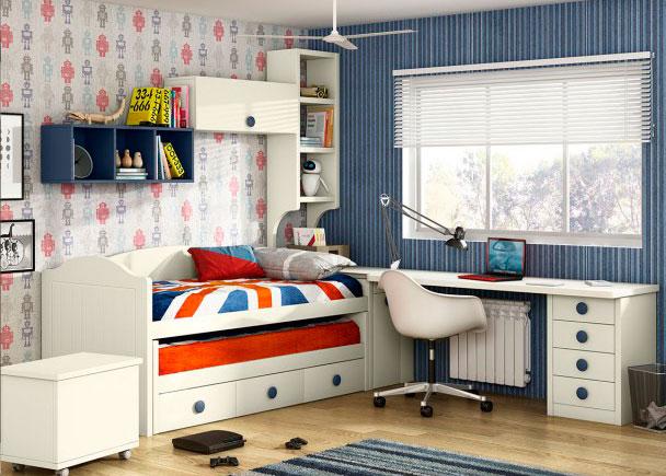 Dormitorio juvenil con compacto bicama elmenut for Dormitorios juveniles dos camas
