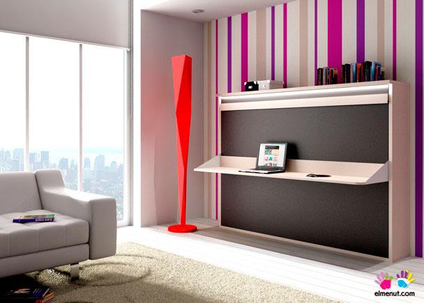 Mueble para salón con una cama abatible horizontal de matrimonio con