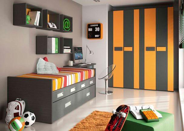 Habitación infantil con cama compacta para colchón de 90*190 con cajones y cama nido de lineas rectas. Armario de 4 puertas de 2 metros