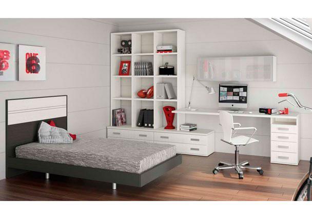 Habitación infantil de diseño supermoderno con amplia zona de estudio ajustable a las medidas de tu habitación así como las medidas de la cama.