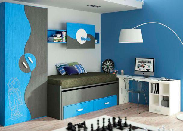 Habitación infantil con un compacto de 2 camas más 2 cajones con armario de puertas esfera de diseño muy original. El dibujo l&aa