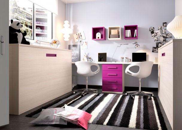 Cama abatible horizontal escritorio recto elmenut for Habitacion juvenil dos camas