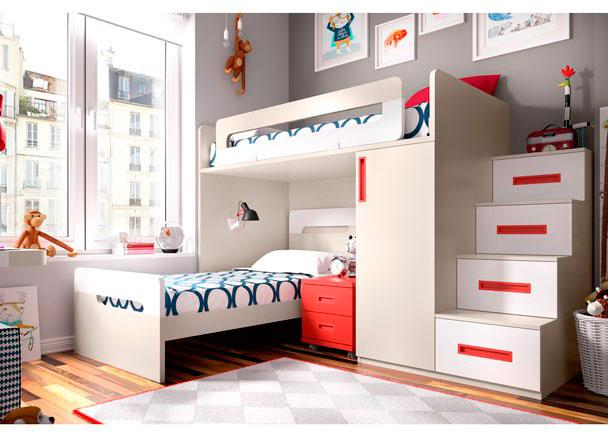 Habitaci n infantil con cama block y con cabezal elmenut - Escaleras para camas altas ...