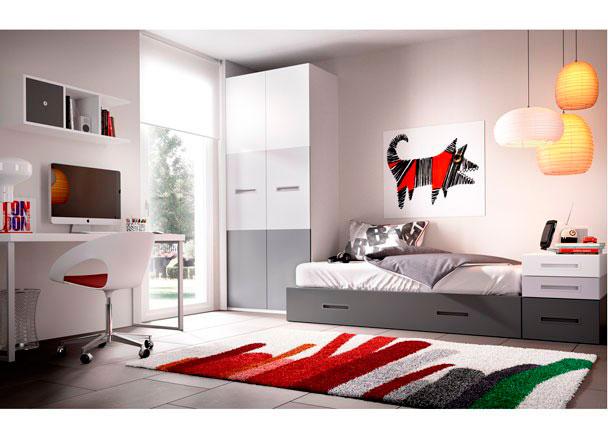 Dormitorio juvenil con cama nido armario elmenut - Cama nido economica ...
