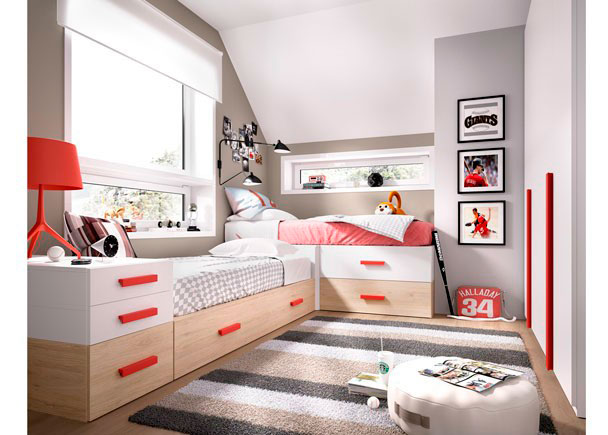 Dormitorio juvenil modular con 2 camas extra bles elmenut - Habitaciones juveniles con dos camas ...
