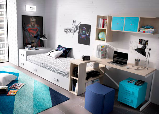 Juvenil con cama nido modular y escritorio rinc n elmenut for Cama nido con cajones y escritorio