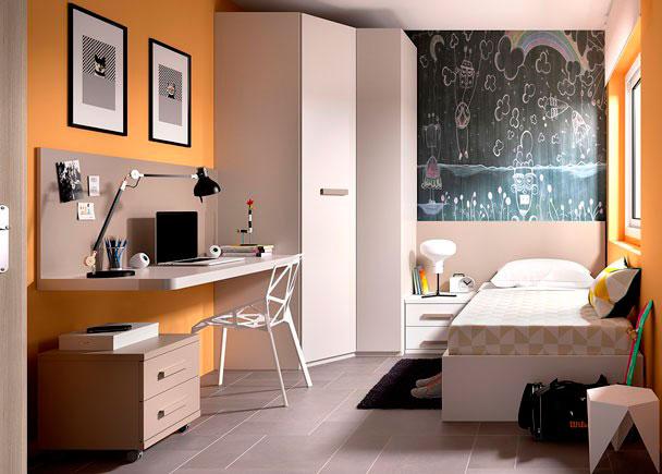 Juvenil con cama arcón para colchón de 90 x 190 con tapa elevable + Armario rinconero + escritorio de sobre recto modelo UP con panel superior.