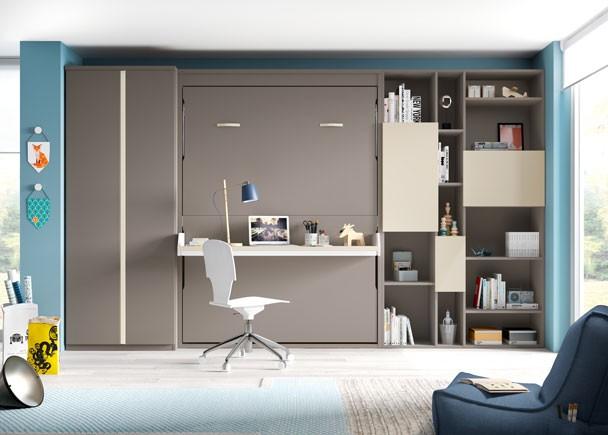 Armario De Cozinha Pequeno Magazine Luiza ~ Estudio con cama abatible de 135 vertical con armario y zona estudio Elmenut