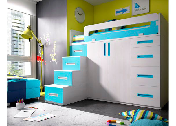 Habitaci n con cama alta sobre modulos block elmenut for Cama sobre armario