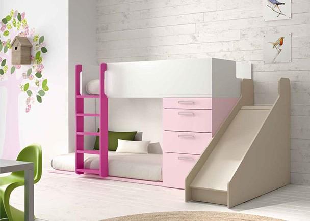Dormitorio infantil con litera tobog n elmenut - Cama infantil con tobogan ...