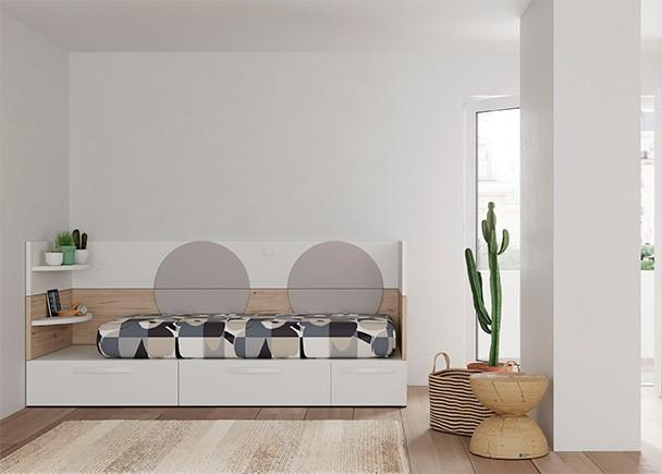 Cama modular con base de 3 cajones y arrimadero en l elmenut for Cama modular infantil