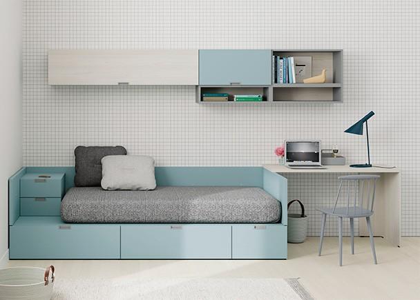 Juvenil con cama modular de cajones y zona estudio elmenut - Cama juvenil con cajones ...