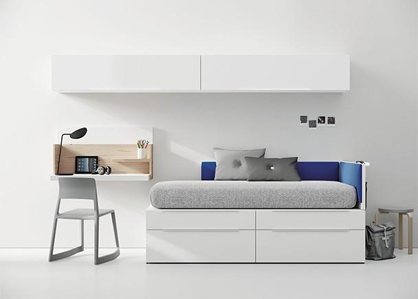 Dormitorio juvenil con cama modular de 2 niveles, compuesta por módulos base de 1 cajón de gran capacidad y modulos apilables