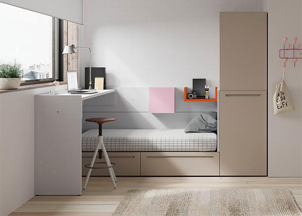 Juvenil con cama modular de dos cajones arc n extra ble y for Cama juvenil con cajones