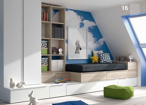 Dormitorio juvenil con dos camas. Elmenut