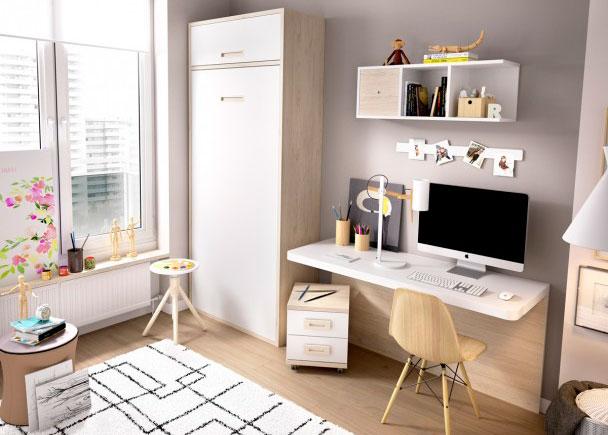 Juvenil con cama abatible vertical escritorio elmenut for Habitaciones juveniles abatibles