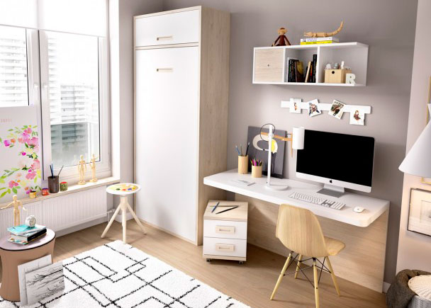 Juvenil con cama abatible vertical escritorio elmenut for Dormitorios juveniles abatibles