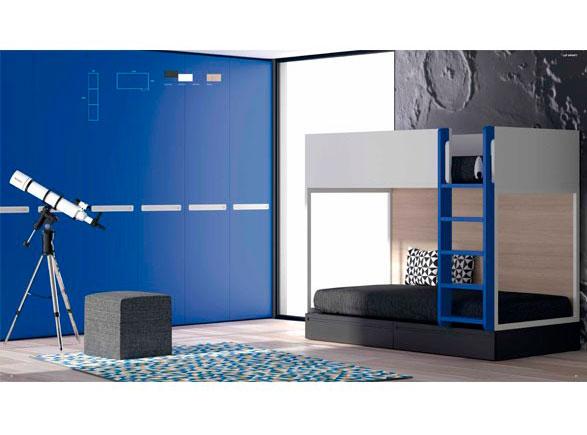 Presentamos un modelo de Litera de líneas rectas, sencillas y elegantes que puedes combinar con un armario de nuestra serie No Limits.