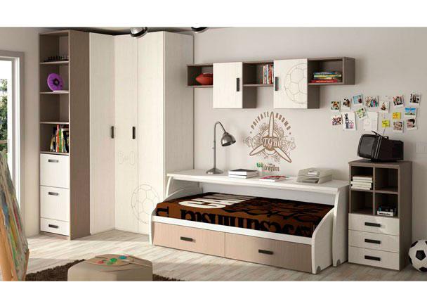 Habitación infantil compuesta por cama con 2 cajones y mesa de estudio ambas desplazables con ruedas; armario rinconero de puertas plegables, c
