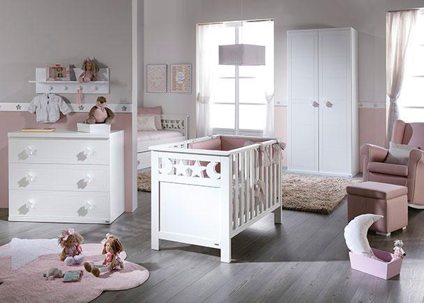 Dormitorio infantil con cuna c moda 3 cajones y armario - Cuna con cajones ...