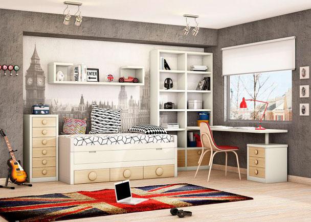 Compacto bicama con deslizante y base de 3 cajones. Cuenta con librería, estantes de pared, escritorio y sinfonier de cajones.
