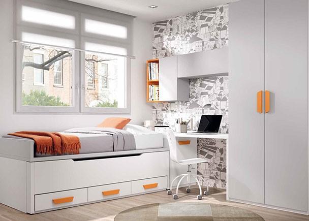 Habitaci n infantil con 2 camas armario y zona estudio - Habitacion 2 camas ...