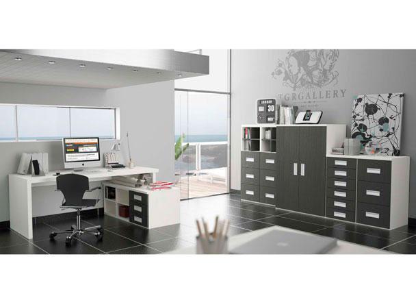 Despacho moderno tanto para uso doméstico como profesional, muy completo con puertas, cajones, archivadores, estantes y mesa con faldón ajustable