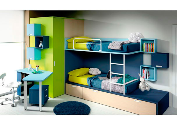 Habitación infantil cama tren con 1 cajón contenedor y arrastre nido, vestidor 1 puerta de 158.9x237x104 izq., mesa con sobre curvado de