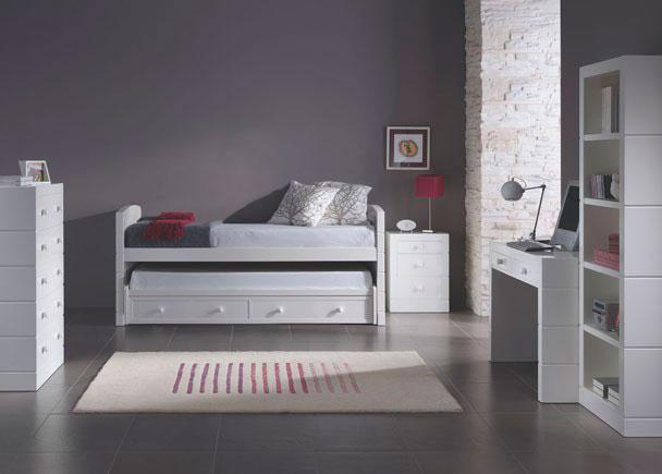 Dormitorio juvenil con cama nido dúplex de 90 y bajo de 2 cajones, sinfonier de 5 cajones, mesita de 3 cajones, mesa estudio y librería
