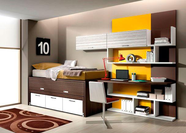 Dormitorio con cama nido con cajones inferiores elmenut - Camas nido con cajones ...
