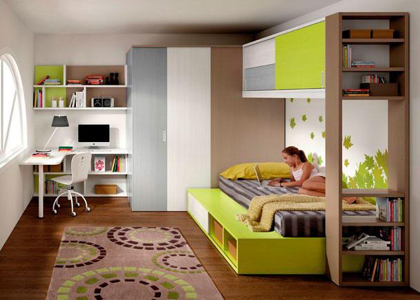 Cama tatami con altillo de 2 puertas elmenut for Dormitorios juveniles con escritorio incorporado